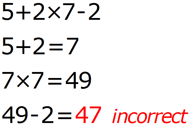 Math Calculator - Basic Calculator - Calculator Input - Incorrect - Example 1