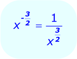Negative Exponents: - example - when the base is a variable, and the exponent is a fraction - Math