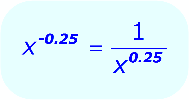 Negative Exponents: - example - when the base is a variable, and the exponent is a decimal - Math