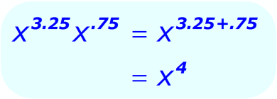 Exponent Multiplication - when the base is a variable, and the exponents are positive decimals - Math