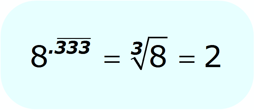 radical - decimal exponent - cube root of 8 - Math