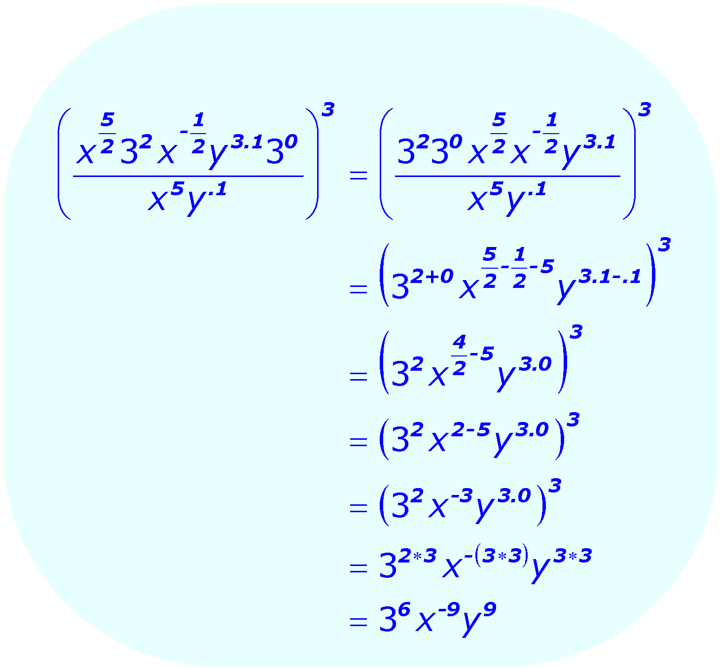 Exponents: Distributive Property - example - using a combination of bases and exponents - Math