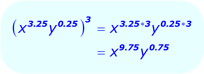 Exponents: Distributive Property - example - when each base is a variable, and some exponents are positive decimals - Math