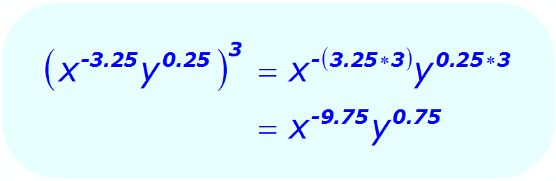 Exponents: Distributive Property - example - when each base is a variable, and some exponents are positive and negative decimals - Math