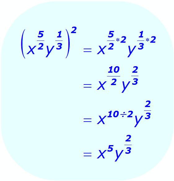 Exponents:  Distributive Property - example - when each base is a variable, and some exponents are positive fractions - Math