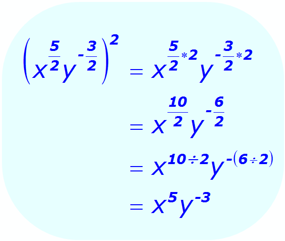 Exponents: Distributive Property - example - when each base is a variable, and some exponents are positive and negative fractions - Math