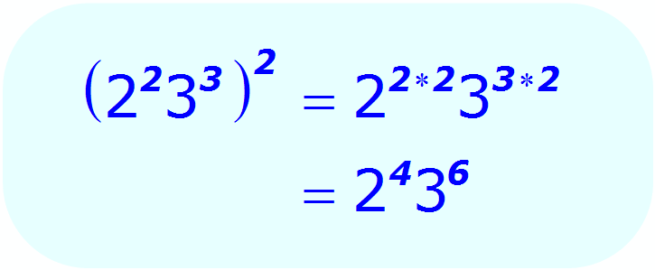 Exponents: Distributive Property - example when each base is a number, and all exponents are integers - Math