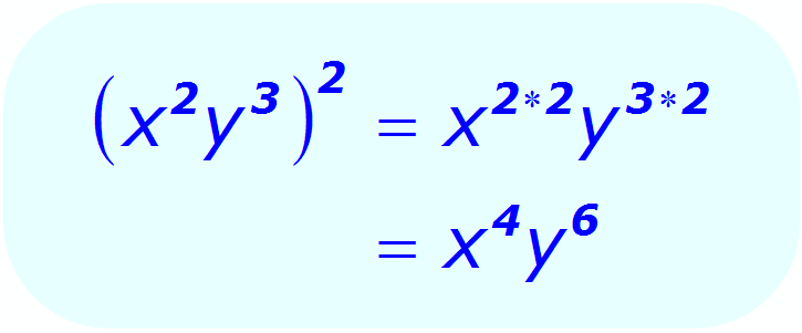 Exponents: Distributive Property - example - when each base is a variable, and all exponents are integers - Math