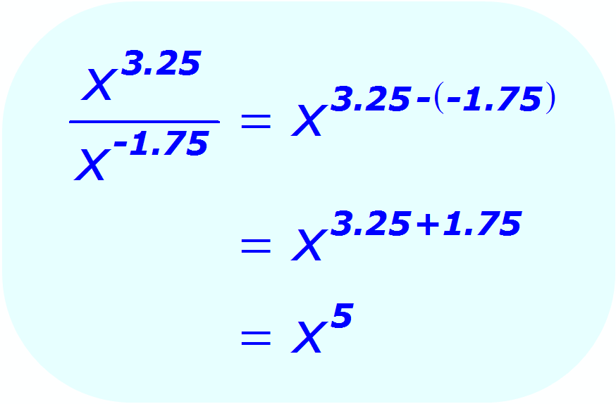 Exponent Division - when the base is a variable, and the exponents are positive and negative decimals - Math