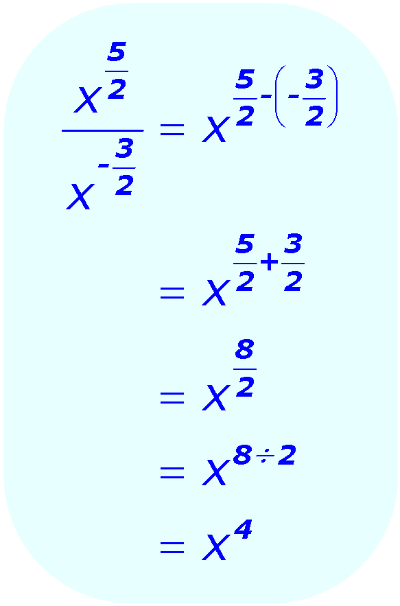 Exponent Division - when the base is a variable, and the exponents are positive and negative fractions - Math