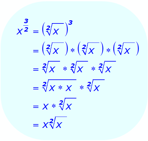 Math - Fractional Exponent using variable - Compute the Square Root First - example 4