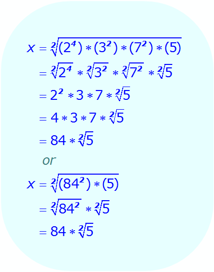 Math - Simplifying Square Root Expressions - example 1 - Evaluate the square root of each perfect square separately - Step 2