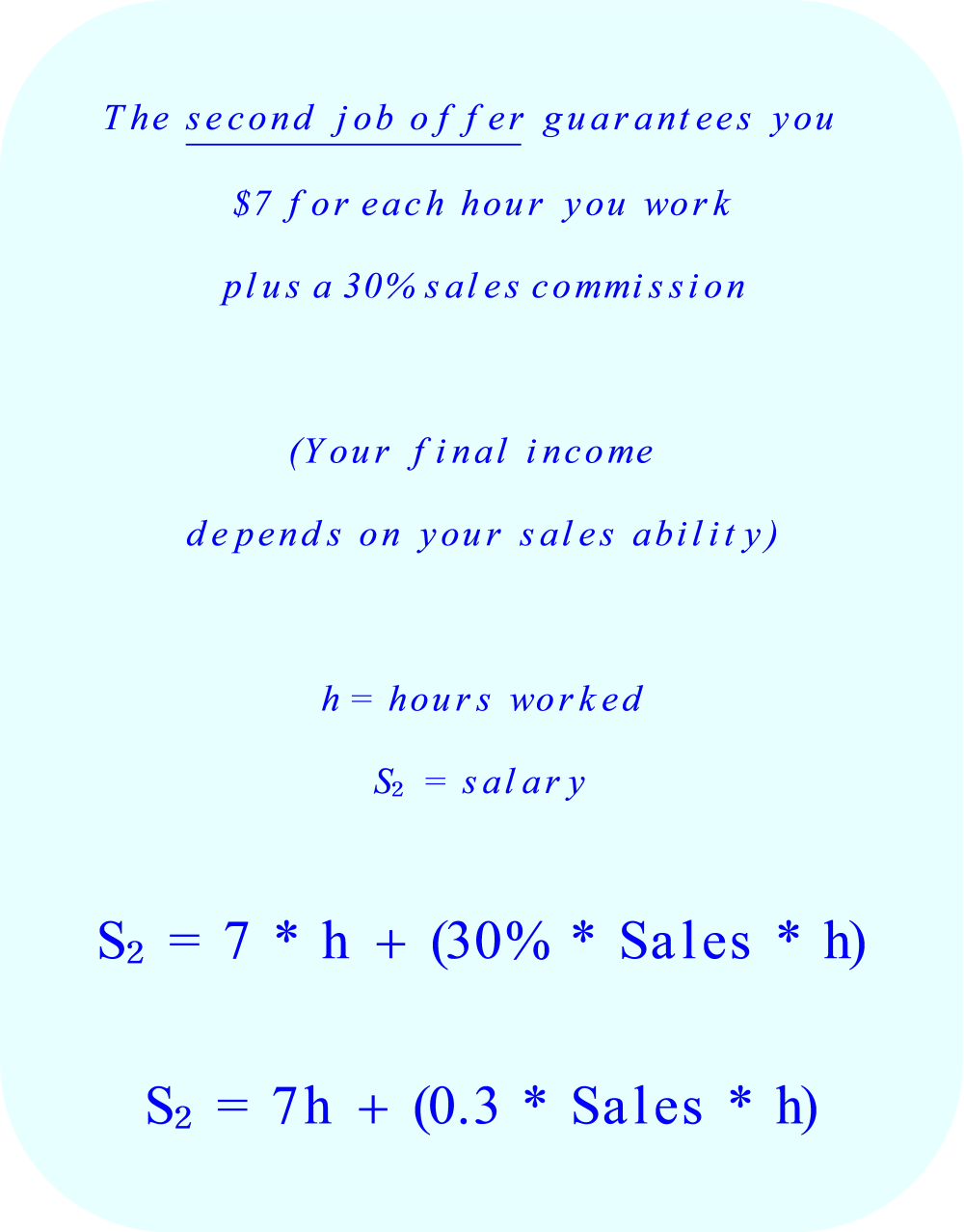 compare two job offers the second job offer guarantees you 7 for each hour you work