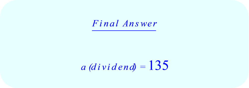 Division Theorem - calculation of dividend - final answer
