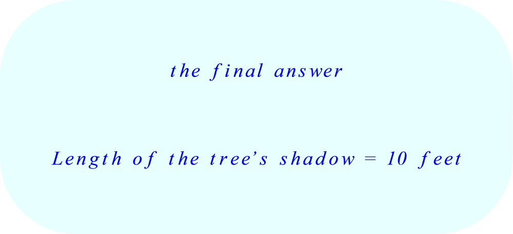 length of the tree's shadow – final answer *** Click to enlarge image ***