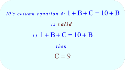 ABC + ACB = CBA, the ten's column equation 4 is valid
