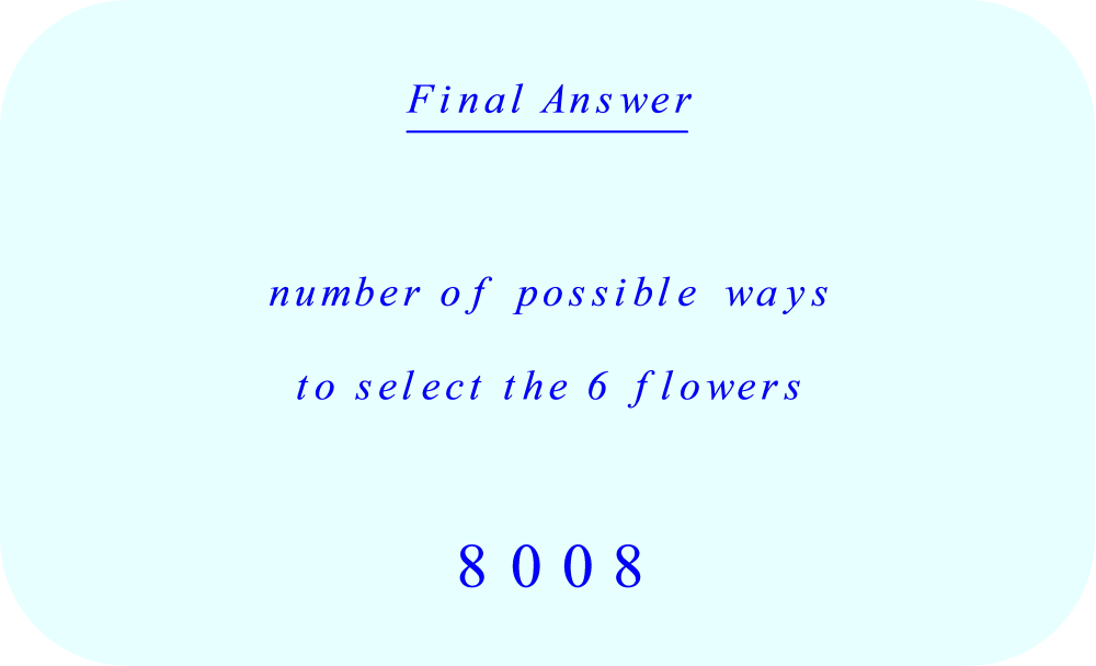 Number of possible ways to select a combination of 6 flowers from a group of 16 different flowers