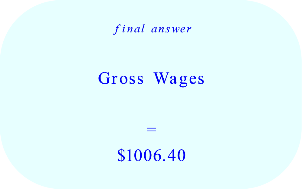 Gross Wages calculation:  Monday through Sunday – final answer