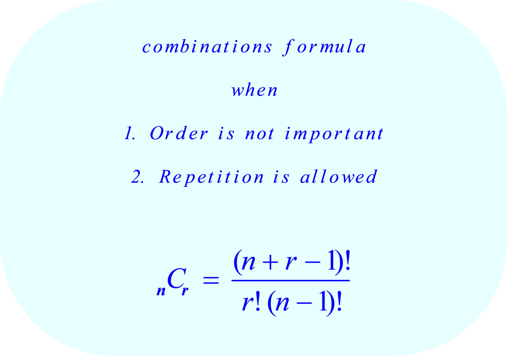 Combinations formula:  