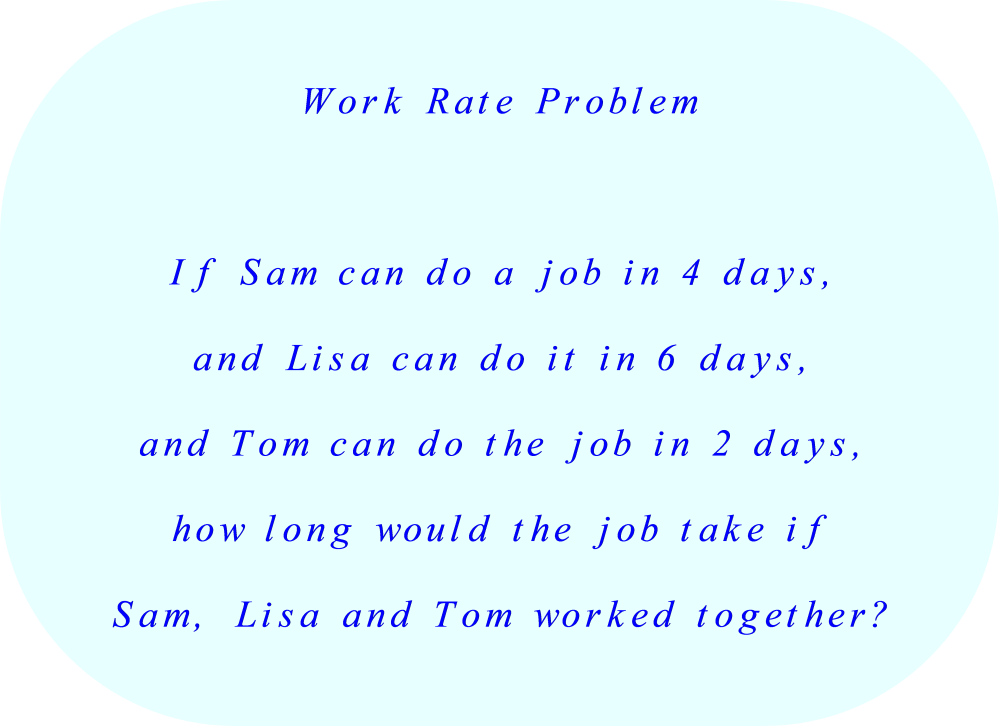 Work-Rate-Problem:  how long would the job take if Sam., Lisa,  and Tom worked together? 