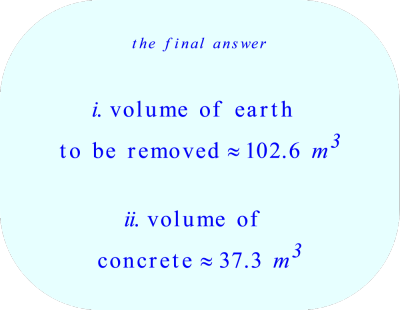 frustum volume:  earth removed and concrete poured into the bottom 2 m of the frustum