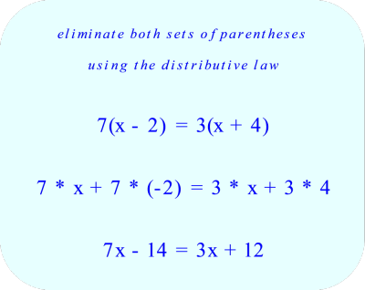 Eliminate both sets of parentheses using the distributive law
