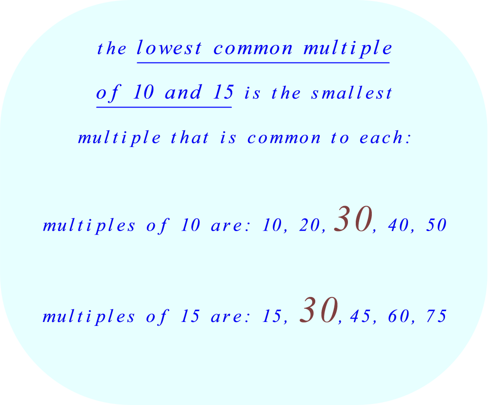 lowest common multiple of 10 and 15