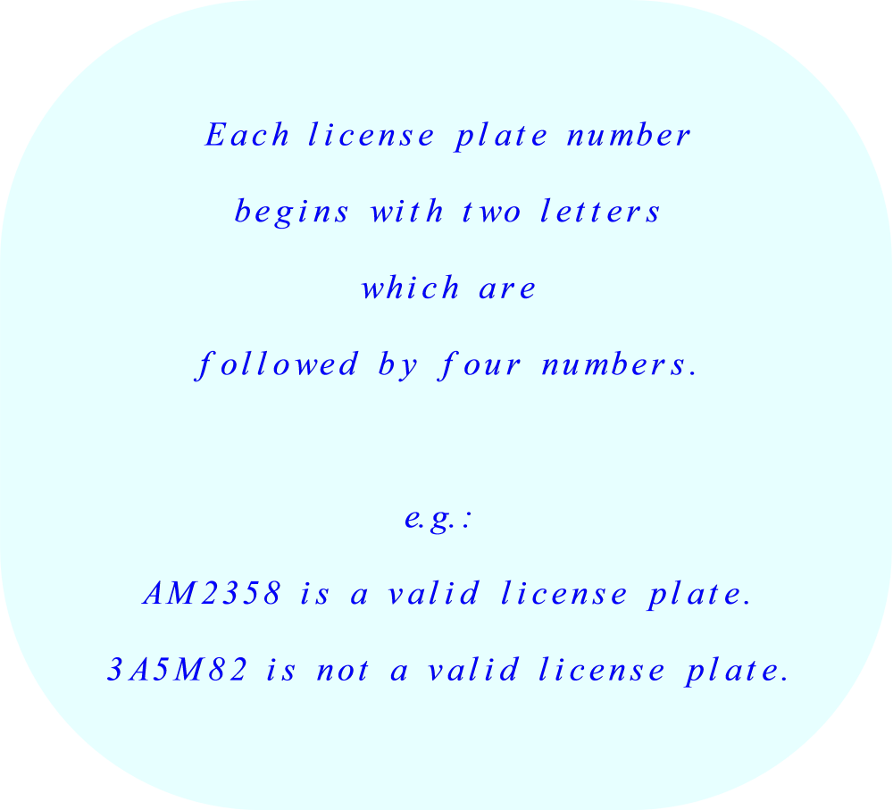 License plate combinations:  2 letters followed by 4 numbers