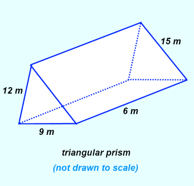 Triangular prism showing dimensionssides      S₁ = 15 m       S₂ = 12 m      S₃ = 9 m      L = 6 m *** Click to enlarge image ***