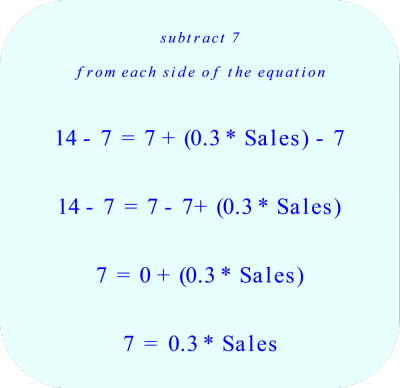 Subtract 7 from each side of the equationGroup like terms  Combine like terms