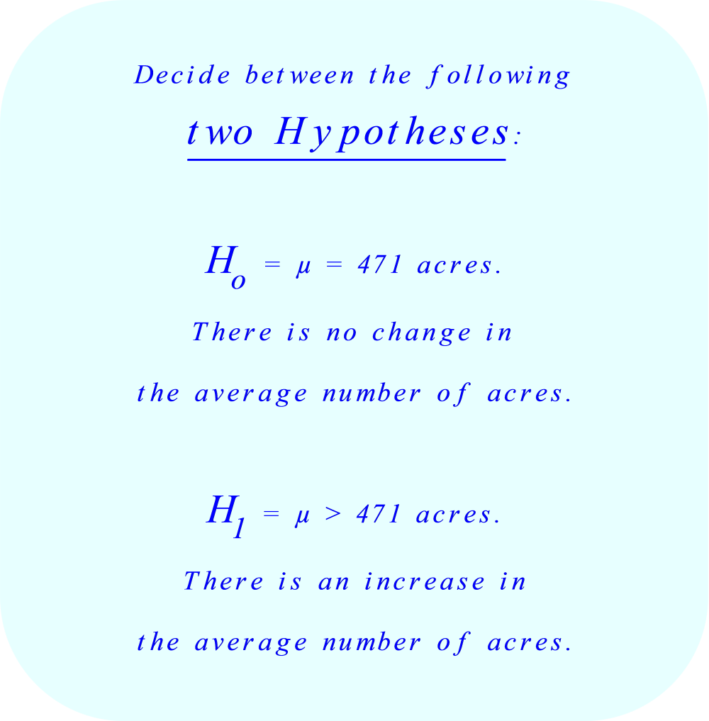 Decide between two hypotheses