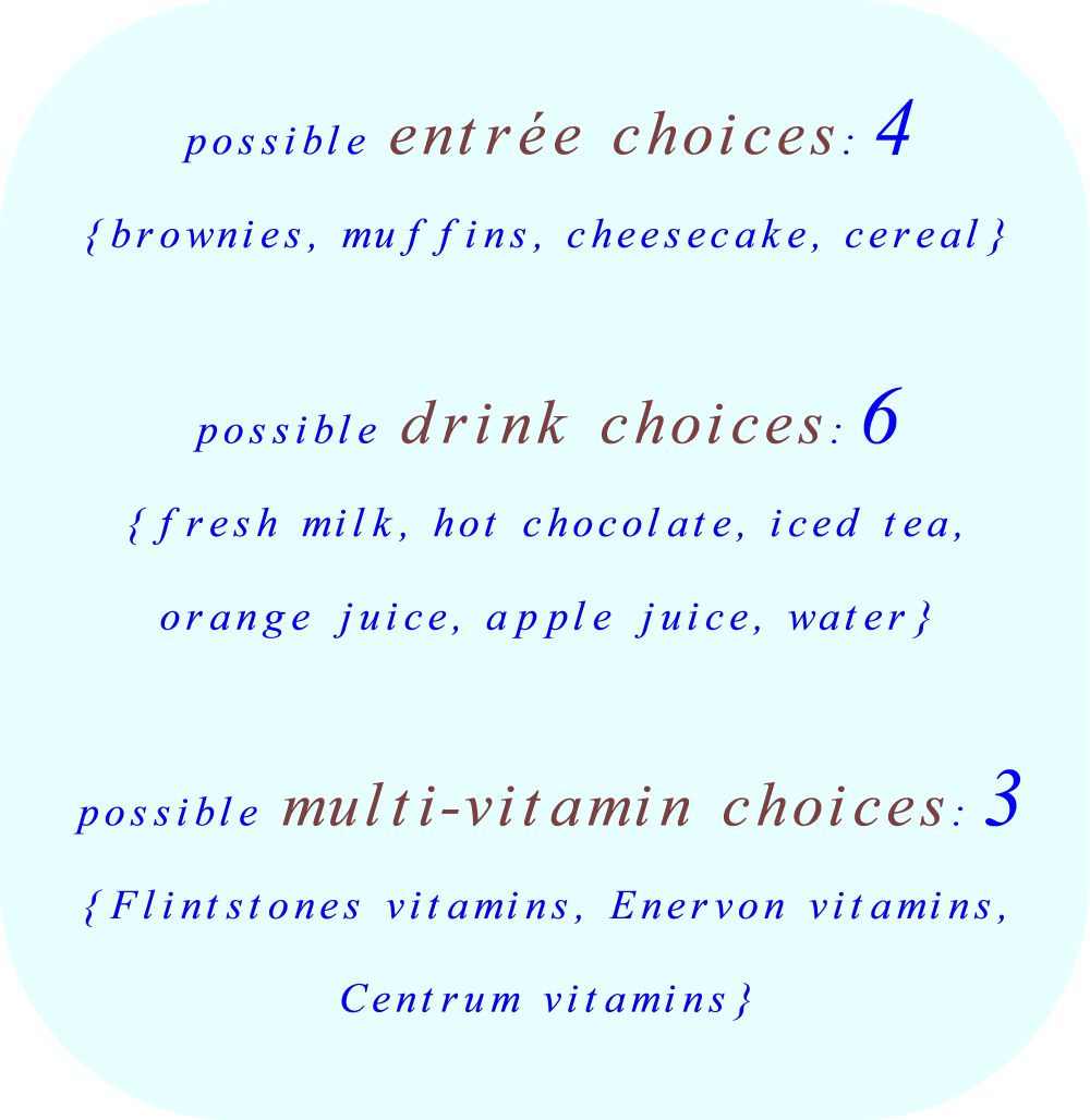 possible entrée choices: 