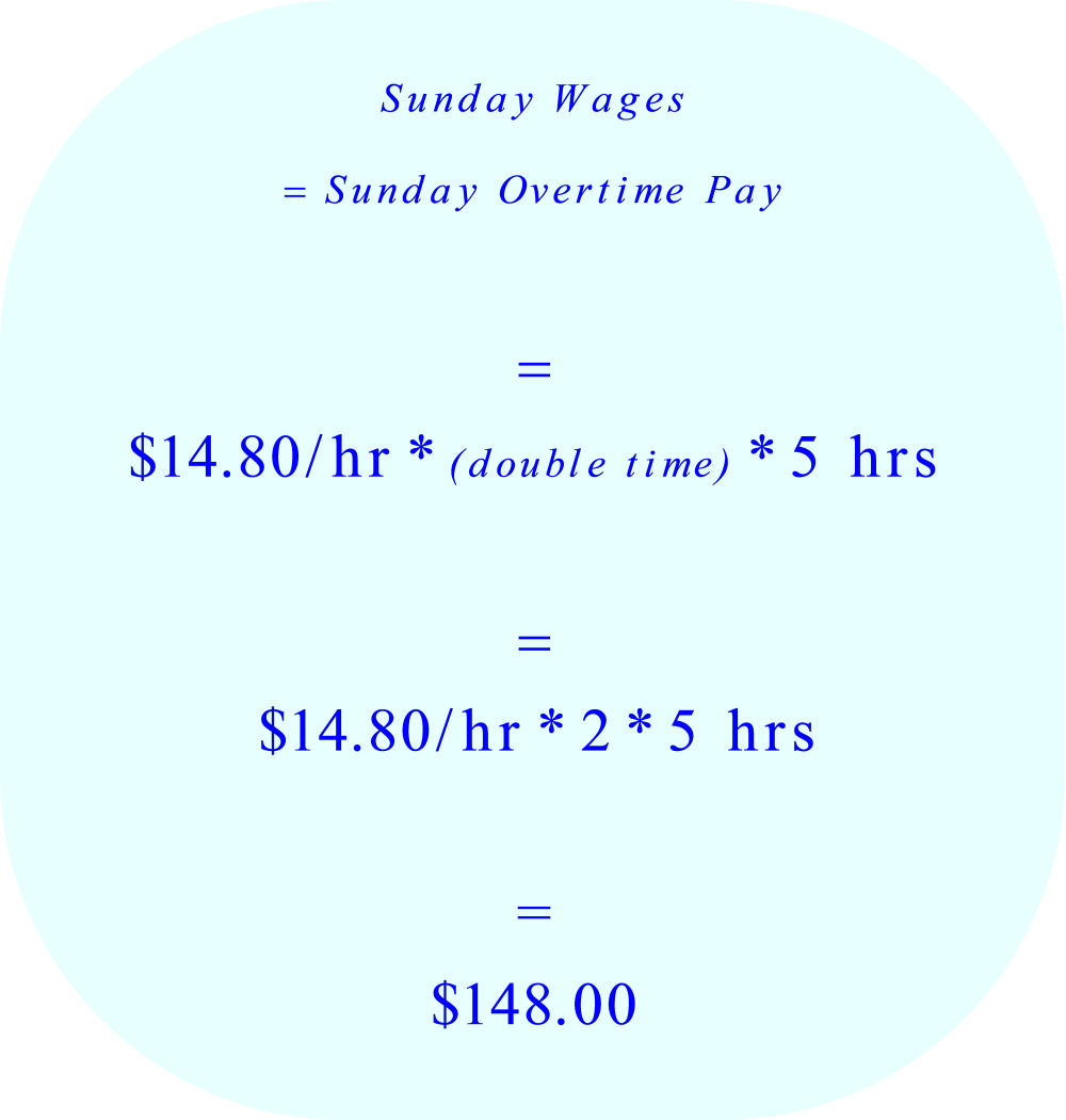 Gross Wages calculation:  Sunday overtime pay