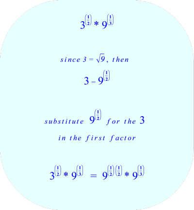 substitute 9^(1/2), the square root of  9,  for the number 3