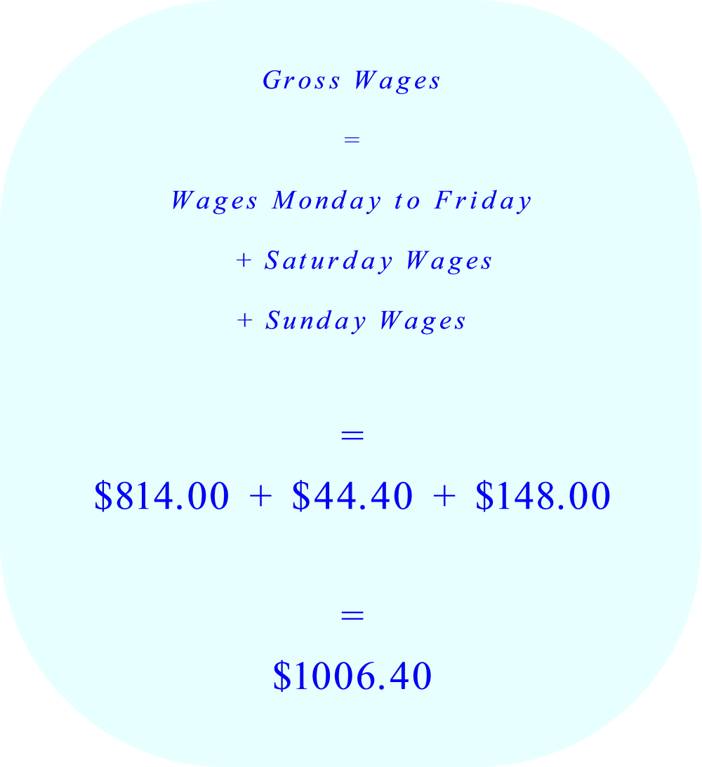 Gross Wages calculation:  Monday through Sunday