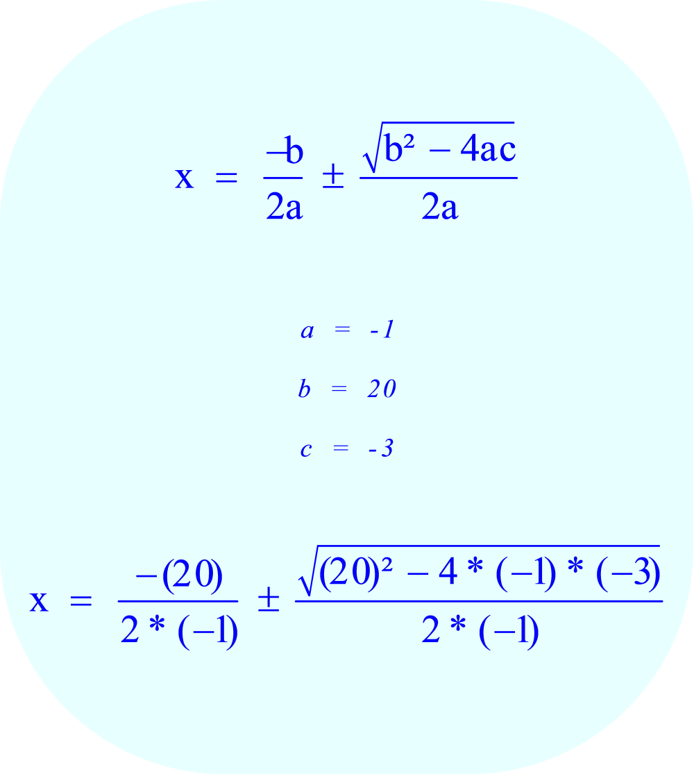 Substitute the values of the coefficients a, b, and c into the quadratic formula