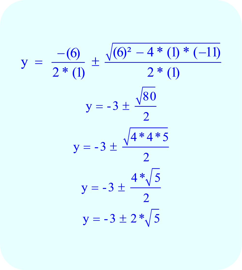 Calculate the final values of y using the quadratic formula.