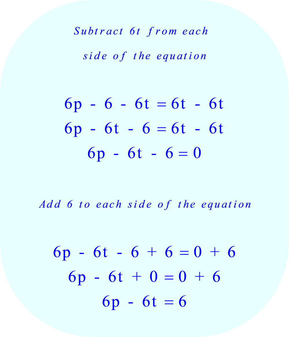 Simplify the equation:     1.  subtract 6t from each side of the equation     2.  add 6 to each side of the equation     *** Click to enlarge image ***