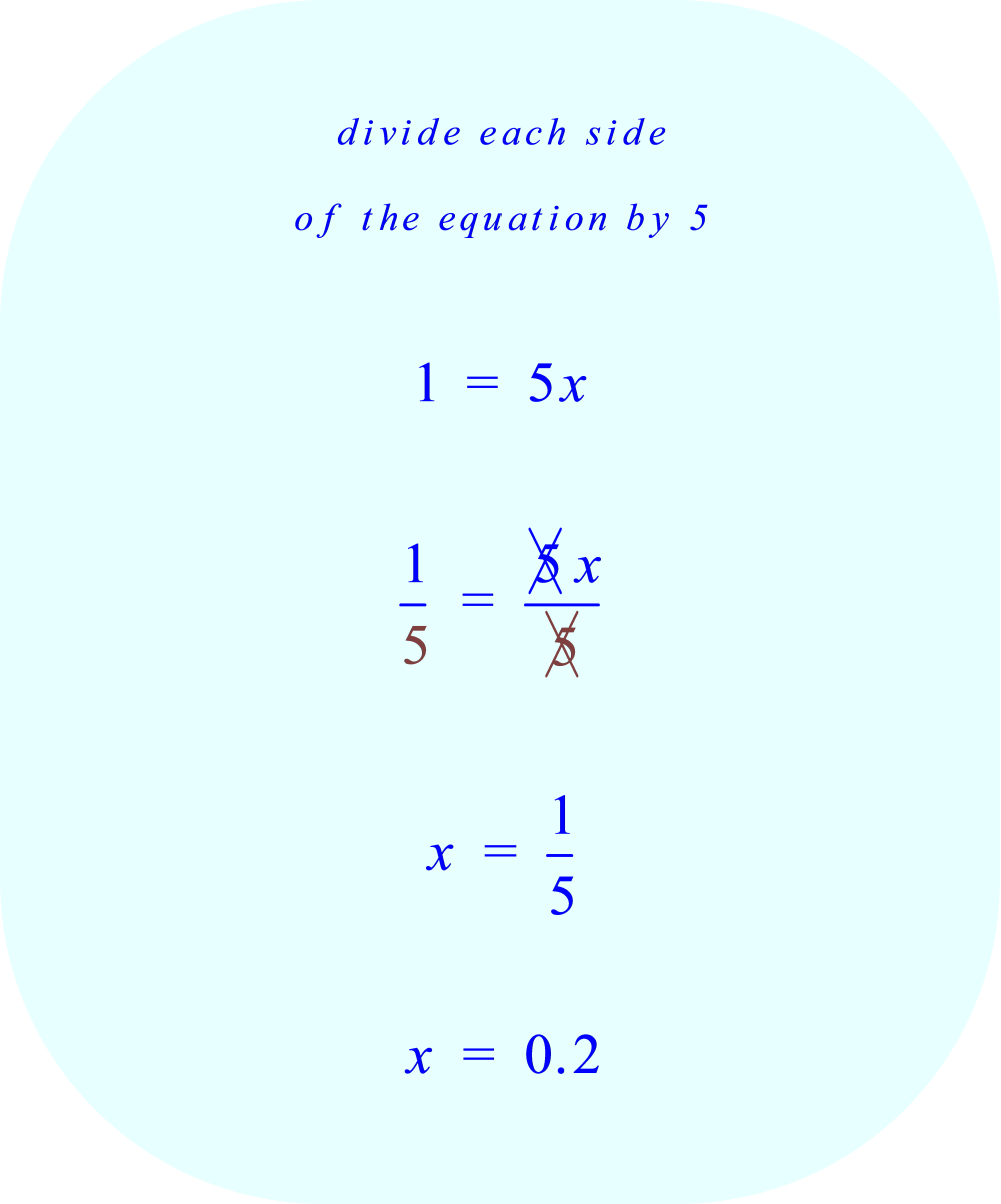 divide both sides of the equation by 5