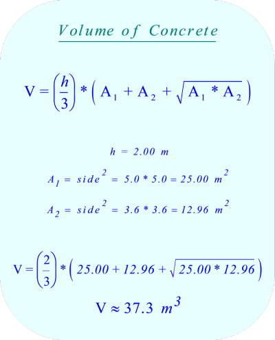 the volume of the concrete poured into the bottom 2 m of the frustum