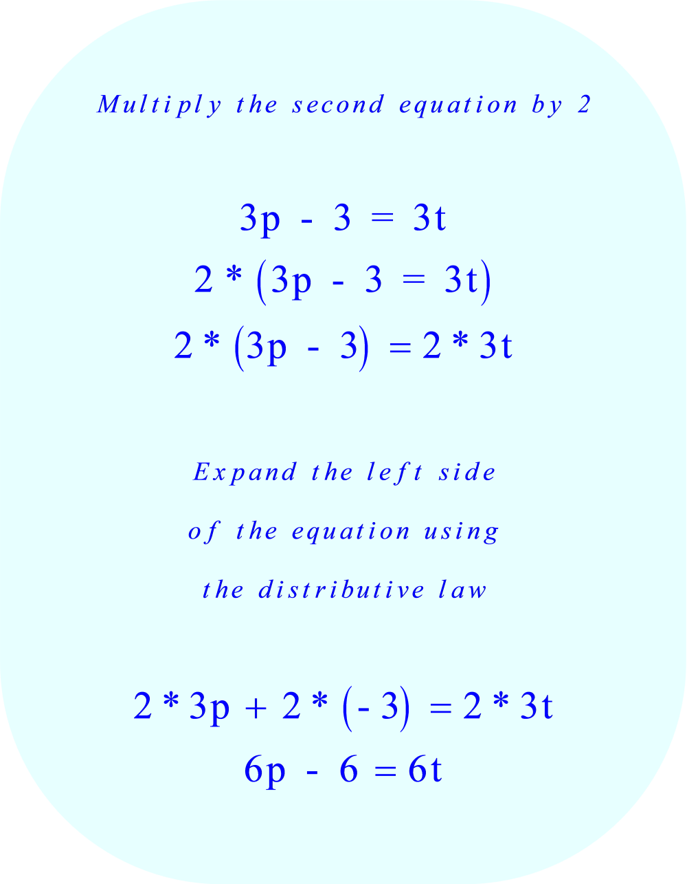 Addition elimination method:     1.  multiply both sides of the second equation by 2     2.  remove the parentheses using the distributive law