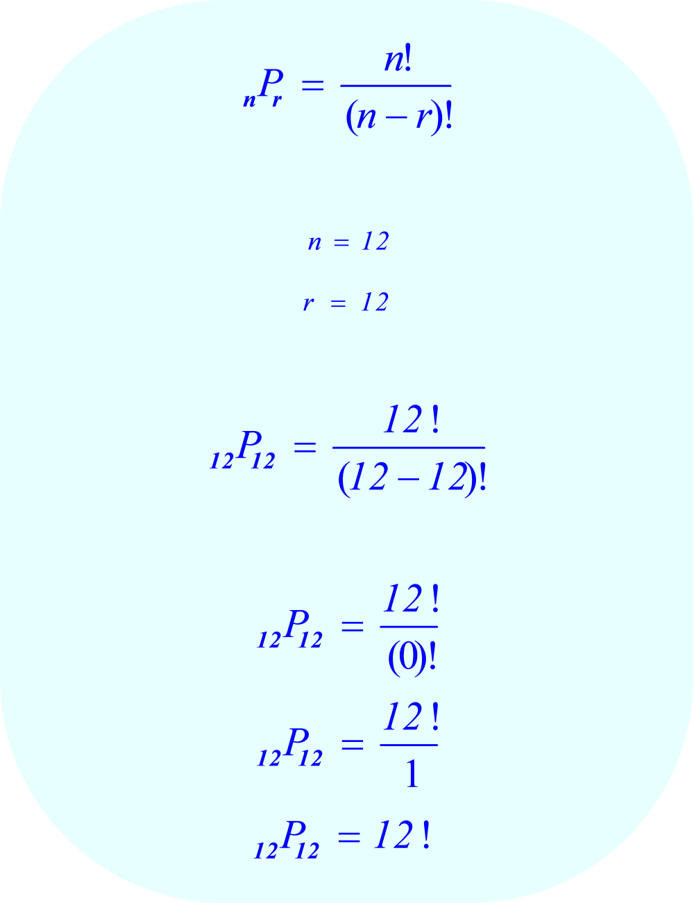 Calculate permutations when n = 12 and r = 12
