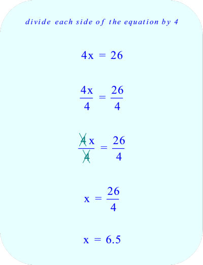 Divide each side of the equation by 4