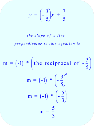 the slope of a line which is perpendicular to the original equation