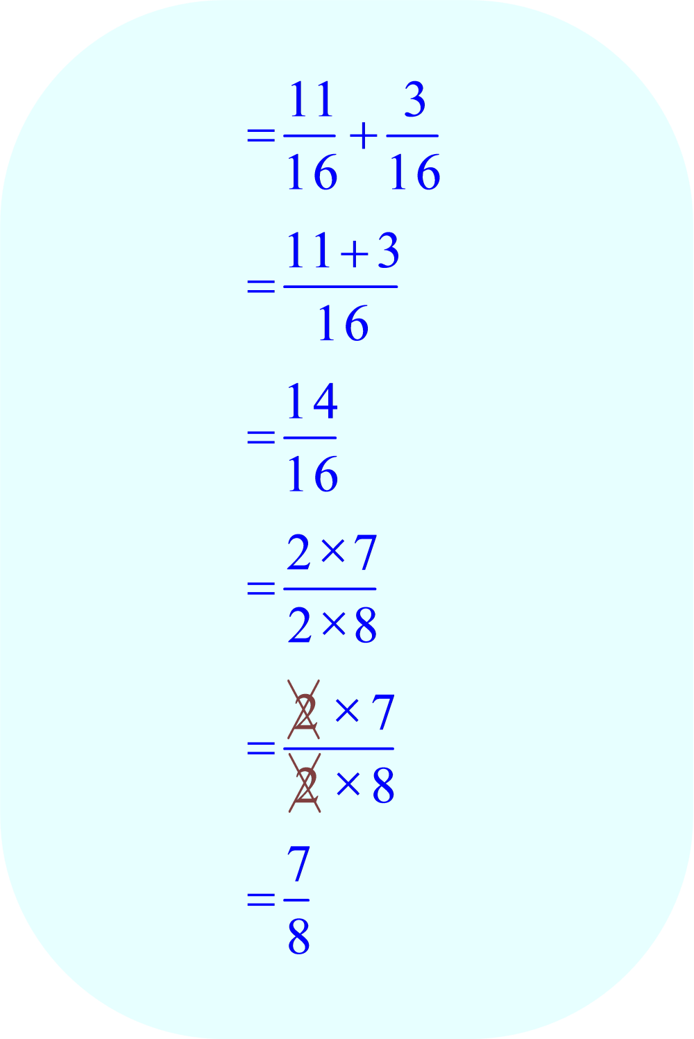 add fractions:  11/16 + 3/16
