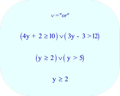 Compound Inequality - final solution:  y  ≥ 2