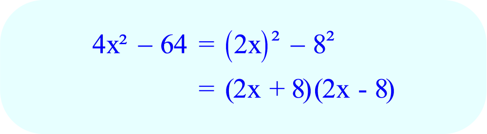Factoring 4x² - 64 using the Difference of Squares Formula