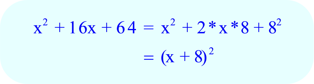 Factoring x² + 16x + 64 using the perfect square trinomial formula