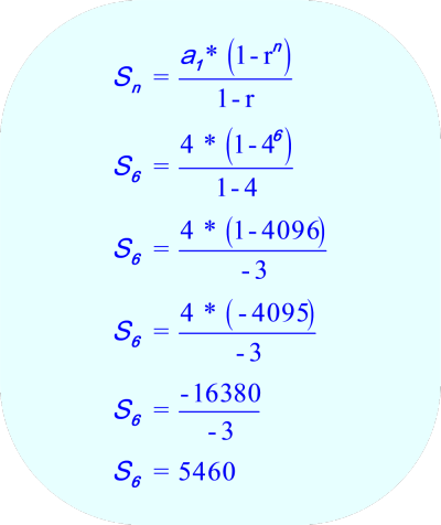 Geometric Sequence - Calculate the sum of the first 6 terms