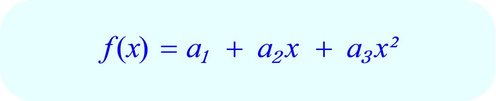 Interpolating Polynomial:  standard form for 3 data points.